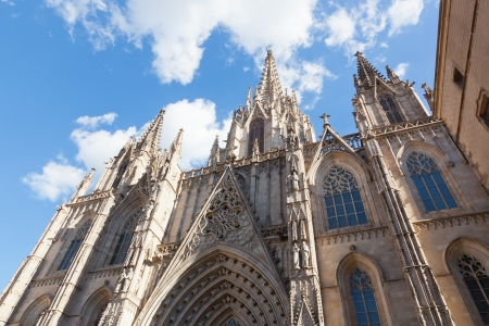 steeples: Gothic Catholic Cathedral Facade Steeples Barcelona Catalonia Spain  Built in 1298  This is the main spire