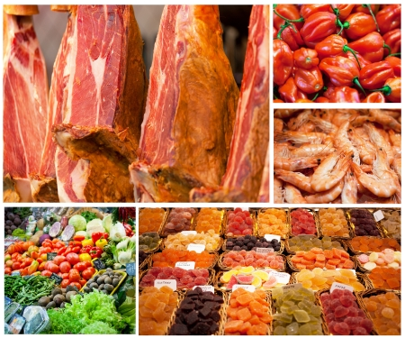 close range: Set of photos with various products which are on sale in the market in Barcelona
