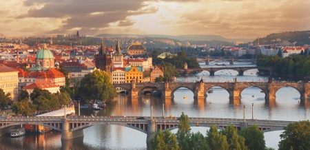 Prague, view of the Vltava River and bridges photo
