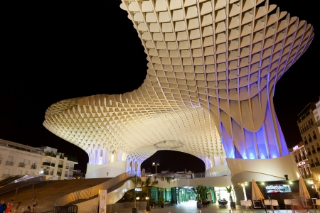 polyurethane: SEVILLA,SPAIN -SEPTEMBER 17 : Metropol Parasol in Plaza de la Encarnacion on September 02, 2013 in Sevilla, Spain. J. Mayer H. architects, it is made from bonded timber with a polyurethane coating.  Editorial