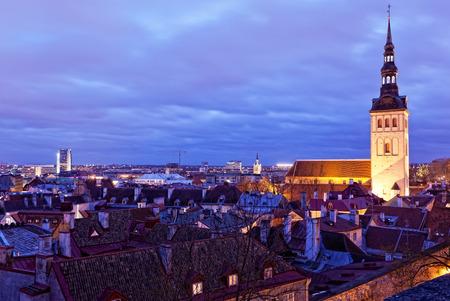 tallin: View of Tallinn with evening illumination in winter