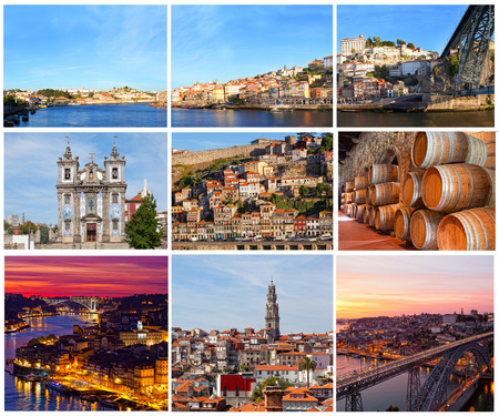 Set of photos with city views of Porto, Portugal photo