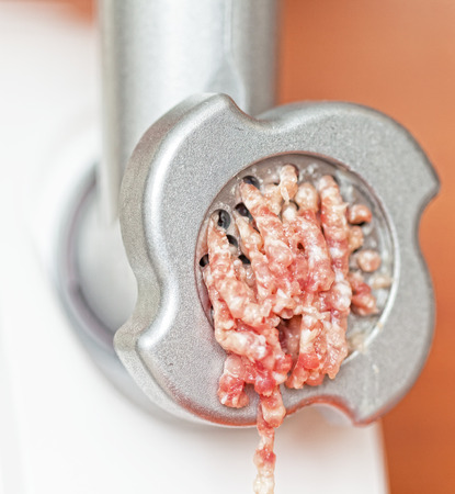 forcemeat: Meat grinder close up, preparation of forcemeat  Stock Photo