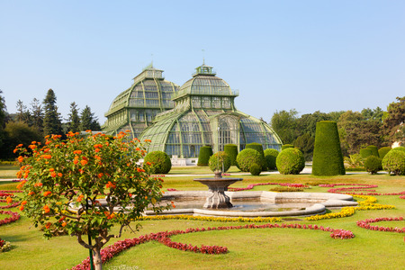 nbrunn: front side of palm house in Schonbrunn Garden in Vienna, Austria