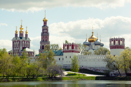 convent:  Novodevichy Convent in Moscow in the spring