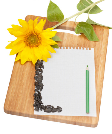 the recipe to write down: Paper for record of culinary recipes on a chopping board
