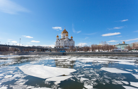 Cathedral of Christ the Saviour  in Moscow in the spring photo