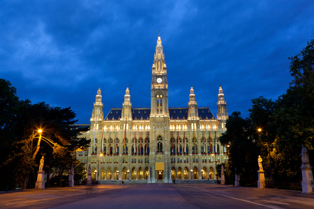 Tall gothic building of Vienna city hall in night, Austria