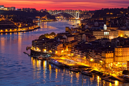 ribeira: hill with old town of Porto at sunset close up, Portugal