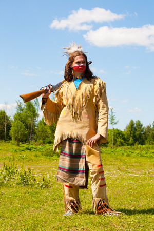 North American Indian with the weapon, reconstruction photo