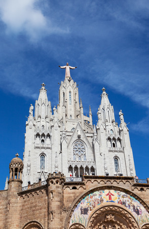 sagrat cor: Jesus Christus Statue at Expiatory Church of the Sacred Heart of Jesus (Temple Expiatori del Sagrat Cor) on summit of Mount Tibidabo in Barcelona, Catalonia, Spain. Stock Photo