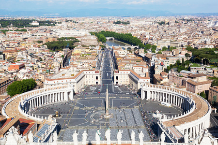 st  peter's basilica pope: Rome, Italy. Famous Saint Peters Square in Vatican and aerial view of the city.