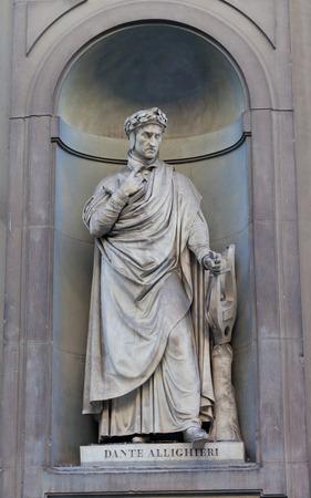 dante alighieri: Dante Alighieri monument in Galleria degli Uffizi in Florence