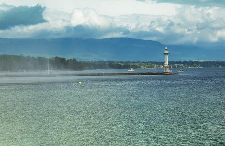 leman: Beacon on the lake Leman in Geneva, Switzerland