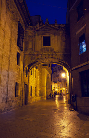 rapidly:  street in historical speak rapidly the cities of Valencia at night, Spain Stock Photo