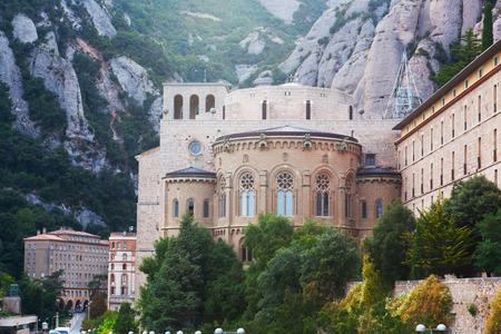 Benedictine Abbey at Montserrat, Santa Maria de Montserrat, near Barcelona, Catalonia, Spain Stock Photo