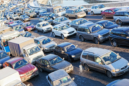 arise: MOSCOW,RUSSIA - - FEBRUARY 8: Big transport stopper, 08.02.2012, Moscow, Russia. Road jams arise because of a large number of transport which exceeds the maximum capacity of roads in the city Editorial