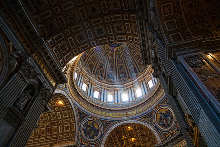 italian fresco: VATICAN - MAY 5, 2014.  St Peters Basilica. St. Peters Cathedral � a Catholic cathedral, the central and largest construction of Vatican, the largest historical Christian church in the world.