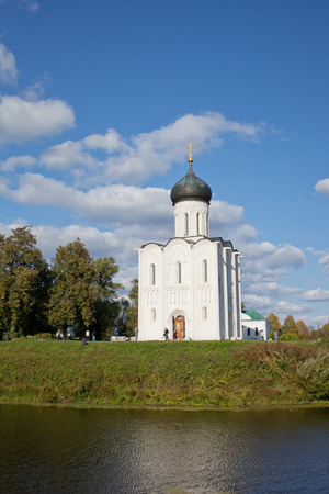 nerl river: Church of Intercession upon Nerl River. Bogolubovo, Vladimir region Stock Photo