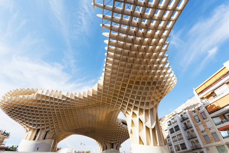 metropol parasol: SEVILLA,SPAIN -SEPTEMBER 17, 2013 : Metropol Parasol in Plaza de la Encarnacion in Sevilla, J. Mayer H. architects, it is made from bonded timber with a polyurethane coating Editorial