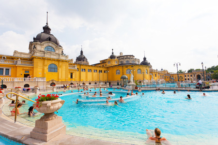 BUDAPEST, HUNGARY - 25 JUNE 2014: Szechenyi thermal baths in Budapest. The Szechenyi Bath is the largest medicinal bath in Europe