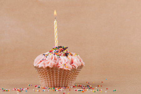 Cupcake with the burning festive candle on a pastel background