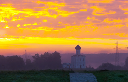 nerl river: Beautiful dawn over Church of the Intercession of the Holy Virgin on the Nerl River, Bogolyubovo, Russia