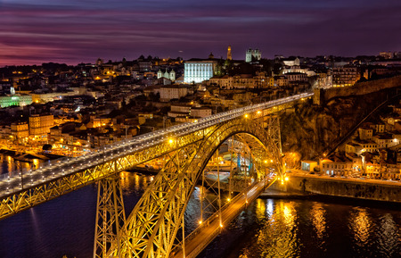 luis: Portugal, Porto, Luis I Bridge on a sunset, the top view
