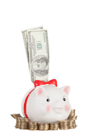pig out: Dollars stick out of the pig moneybox standing in an environment of coins Stock Photo