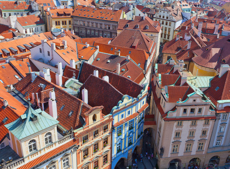 eye traveller: Top view on one of ancient streets of Prague, the Czech Republic
