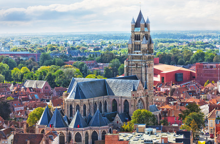 Top view to Bruges and the cathedral St. Sauveur, the oldest brick church of Belgium
