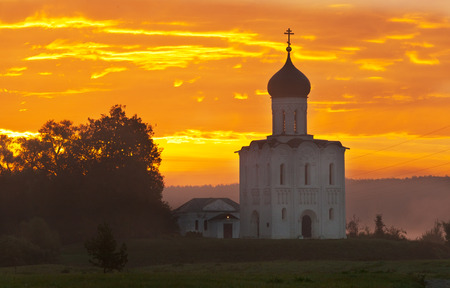 nerl river: Beautiful sunrise over Church of the Intercession of the Holy Virgin on the Nerl River, Bogolyubovo, Russia