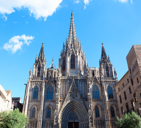 steeples: Gothic Catholic Cathedral Facade Steeples Barcelona Catalonia Spain. Built in 1298. This is the main spire.