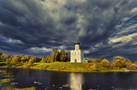 intercession: Church of the Intercession of the Holy Virgin on the Nerl River, Bogolubovo, Russia Stock Photo