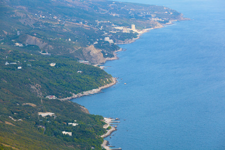 coast of the Black Sea in autumn day.  Crimea