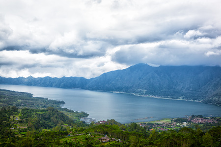 lake Batur in a volcano crater - the biggest fresh-water lake on the island of Bali, Indonesia photo