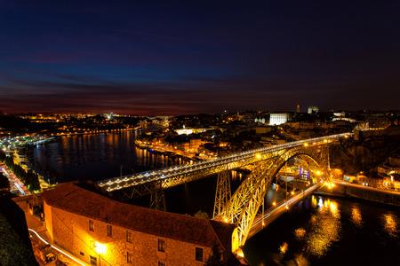 luis: Luis I Bridge on a sunset, the top view, Portugal, Porto Stock Photo