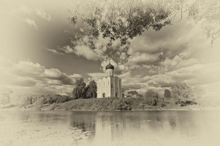 Church of Intercession upon Nerl River. Bogolubovo.Processing: toning in sepia, light vignetting