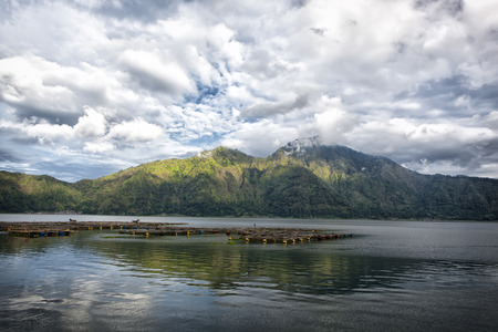 lake Batur in a volcano crater, Indonesia, the island of Bali photo