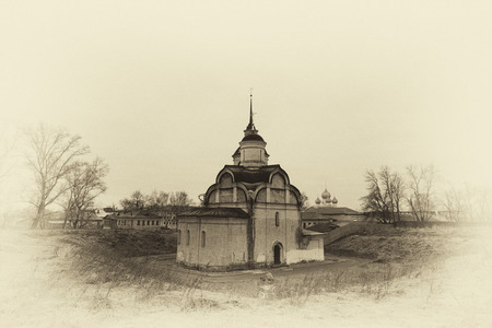 sepia toning: Rostov Veliky, the Church of the Transfiguration (or Saviour on Sand, or Spasopeskovskaya) constructed in 1603