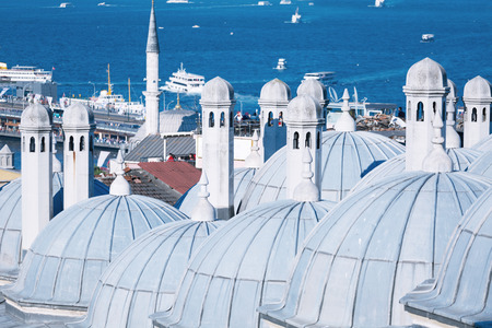 domes: Domes of Suleymaniye Mosque and gulf Gold Horn Stock Photo