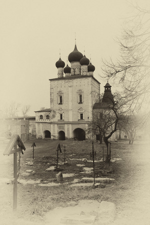 sepia toning: Borisoglebsky Monastery. Church of the Presentation of the Lord and remains of a necropolis