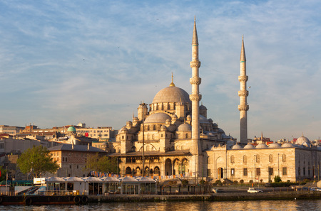 cami: Yeni Cami, meaning New Mosque lit with the morning sun, Istanbul