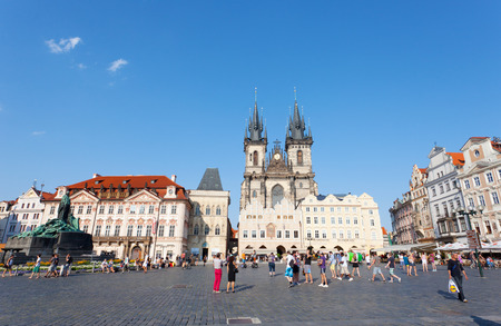 3 5: PRAGUE, CZECH REPUBLIC - JULE 28, 2013: Cityscape of Old Town Square in Prague . Annually Prague is visited by more than 3,5 million tourists.