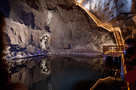 WIELICZKA, POLAND - JANUARY 2, 2015: Wieliczka Salt Mine (13th century) is one of the worlds oldest salt mines. Has over 300 corridors and 300 chambers on 9 levels.