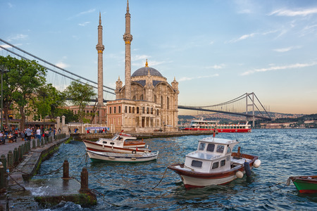 ISTANBUL,TURKEY, MAY 15, 2015: Ortakoy Mosque in Besiktas, Istanbul, Turkey, is situated at the waterside of the Ortakoy pier square, one of the most popular locations on the Bosphorus.