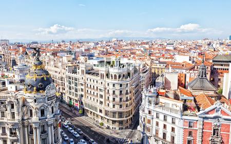 xx century: MADRID, SPAIN-SEPTEMBER 24, 2013: Metropolis building situated on representative Gran Via street  . It was built in the twenties of XX century.