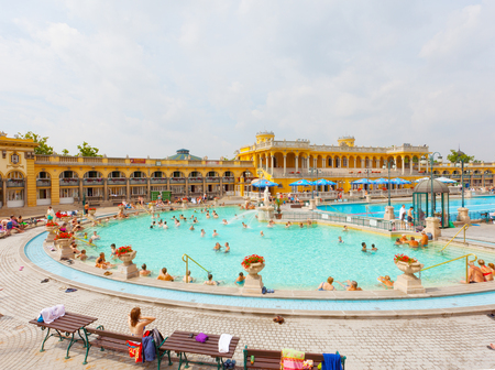 szechenyi: BUDAPEST, HUNGARY - 25 JUNE 2014: Szechenyi thermal baths in Budapest. Famous, popular, vintage baths. Vacation (travel) concept. Editorial