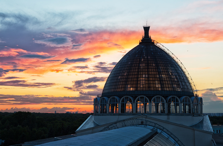 enea: Beautiful sunset and dome of the pavilion Space  on VDNH, Moscow