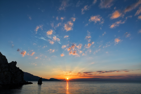 inflow: Beautiful landscape with sunrise over the Black Sea in the Crimea Stock Photo